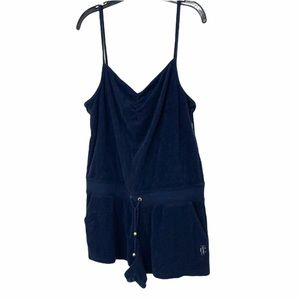 Juicy Couture navy blue velour romper in Large